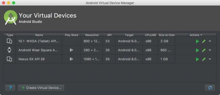 Диспетчер виртуальных устройств Android