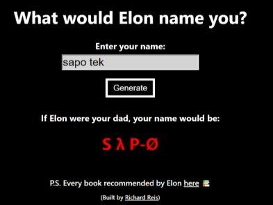 Как бы вас называли, если бы вашим отцом был Илон Маск? Создан сайт-генератор имен в стиле директора Теслы